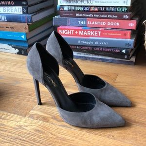 Saint Laurent Grey Suede D'Orsay Pumps